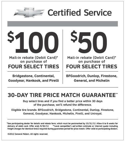 Chevy service coupons